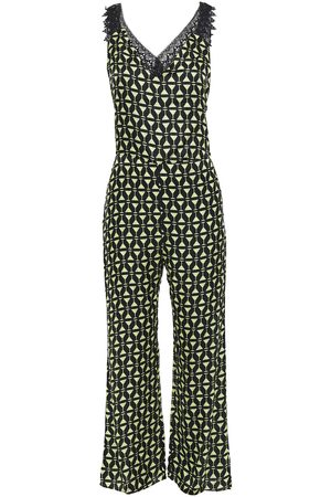 Adriana Degreas Woman Guipure Lace-trimmed Printed Satin Jumpsuit Size L