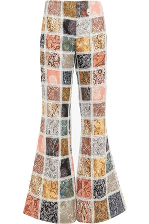 ZIMMERMANN Woman Patchwork-effect Lace-trimmed Printed Linen Flared Pants Multicolor Size 1