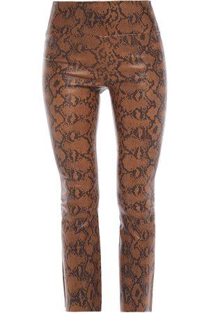 SPRWMN Woman Snake-print Stretch-leather Kick-flare Pants Size L