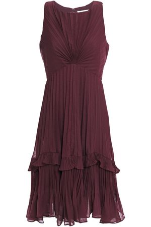 Halston Heritage Woman Twist-front Pleated Voile Dress Burgundy Size 4