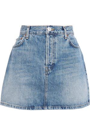 RE/DONE Woman Faded Denim Mini Skirt Mid Denim Size 24