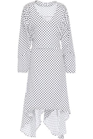 Each x Other Woman Asymmetric Belted Polka-dot Crepe De Chine Dress Off- Size L