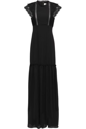 MIKAEL AGHAL Women Evening Dresses - Woman Lace-trimmed Gathered Crepe De Chine Gown Size 10