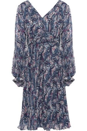 MIKAEL AGHAL Woman Pleated Cutout Printed Crepe Dress Navy Size 10