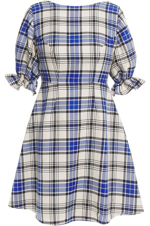 Shrimps Woman Open-back Checked Wool-twill Mini Dress Size 10