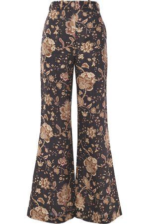 ZIMMERMANN Woman Veneto Printed Linen Flared Pants Dark Size 0