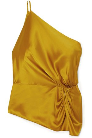MICHELLE MASON Woman One-shoulder Knotted Silk-charmeuse Top Mustard Size 4