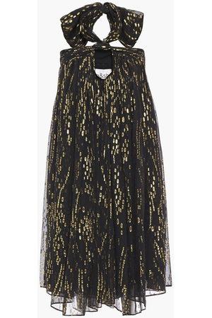 Bash Woman Juno Metallic Fil Coupé Silk-blend Chiffon Mini Dress Size 0