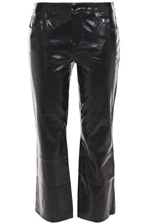 J Brand Women Leather Trousers - Woman Selena Cropped Crinkled Glossed-leather Slim-leg Pants Size 24