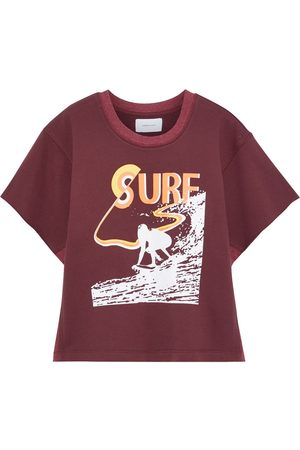Current/Elliott Woman The Pickup Jersey-paneled Printed French Cotton-terry Top Burgundy Size 0