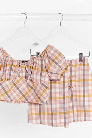 Nasty Gal Womens Check Up On It Linen Puff Sleeve Top