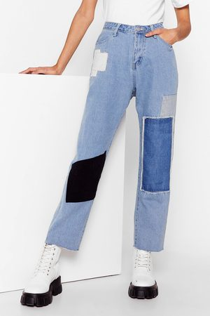 NASTY GAL Womens Not Got a Patch on You High-Waisted Jeans