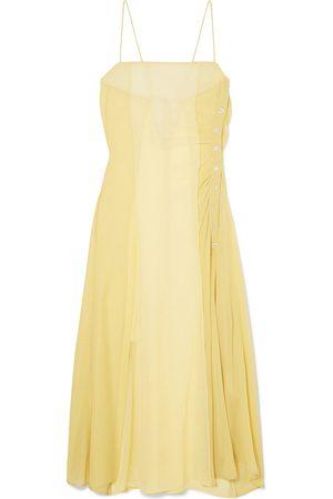 Acne Studios Woman Delila Button-detailed Silk-chiffon And Crepe De Chine Midi Dress Pastel Size 32