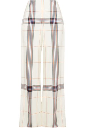 Roland Mouret Woman Tayport Checked Twill Wide-leg Pants Ivory Size 10
