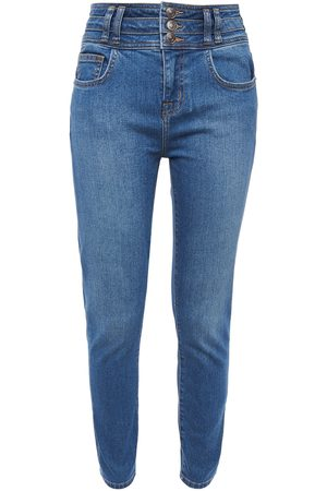 Current/Elliott Woman The Pinball Stiletto Cropped High-rise Skinny Jeans Mid Denim Size 25