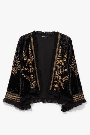 NASTY GAL Women Jackets - Womens Love Train Velvet Embroidered Jacket - - 8