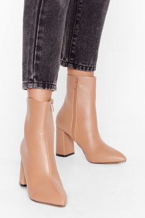 NASTY GAL Womens Hey Sole Sister Faux Leather Heeled Boots - - 3