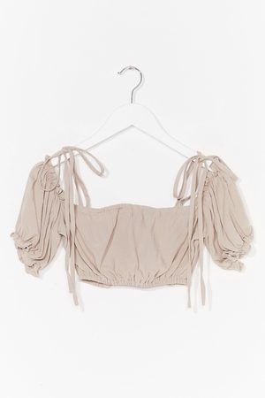 NASTY GAL Womens Crink Crink Puff Sleeve Cover-Up Crop Top - - 8