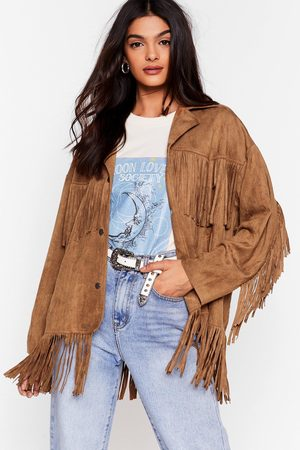 NASTY GAL Womens Swing By Faux Suede Fringe Jacket - - S