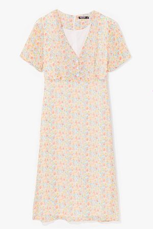 NASTY GAL Womens Sweet Escape Floral Midi Dress - - 4