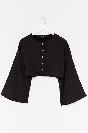 NASTY GAL Womens Been Flare Done That Satin Cropped Blouse - - 6