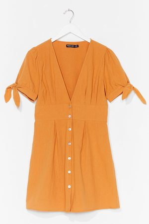 NASTY GAL Womens Are You Still Button-Down Tie Mini Dress - - 4