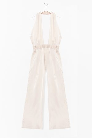 NASTY GAL Womens Oh What a Night Satin Halter Jumpsuit - - 10