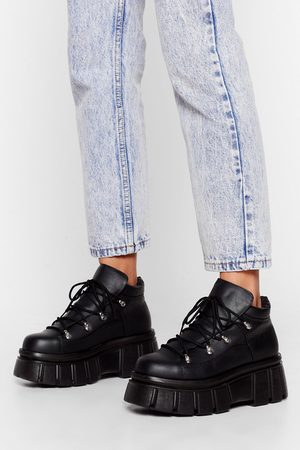 NASTY GAL Womens Cleated Platform Faux Lather Trainers