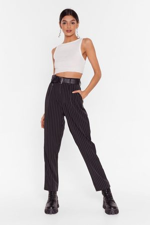 NASTY GAL Womens Pinstripe Up Your Life High-Waisted Trousers - - 10