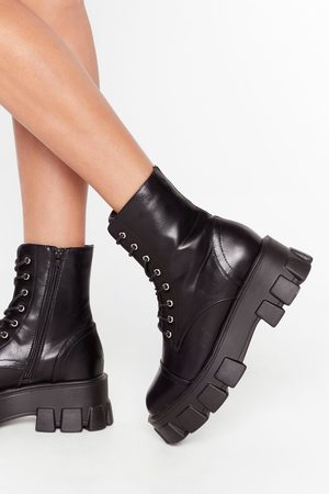 NASTY GAL Womens Admit De-cleat Faux Leather Lace-Up Boots - - 4