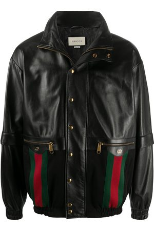 Gucci Web leather bomber jacket
