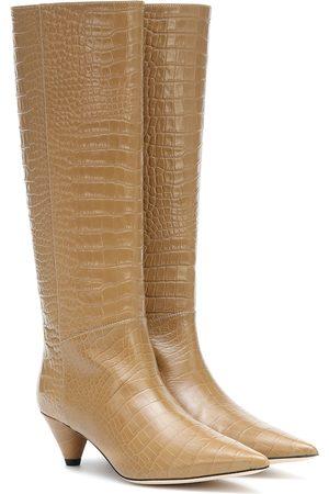 Joseph Women High Leg Boots - Croc-effect leather knee-high boots
