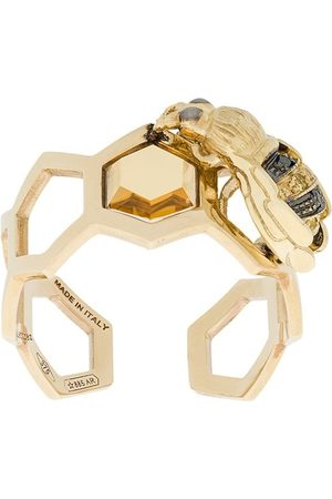 DELFINA DELETTREZ 9kt yellow gold To Bee or Not To Be open ring - Metallic