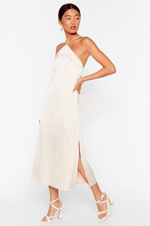 NASTY GAL Womens At Ease Satin Halter Midi Dress - - 4