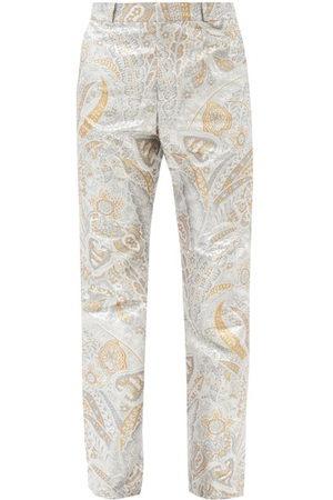Paco rabanne Men Trousers - Paisley-jacquard Lurex Straight-leg Trousers - Mens