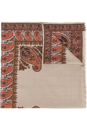 Etro Men Scarves - Paisley-pattern fringed scarf - Neutrals