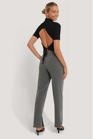NA-KD Side Slit Tailored Pants - Grey