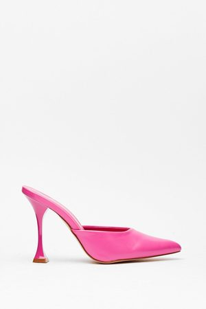 NASTY GAL Womens Pointed Faux Leather Stiletto Mules