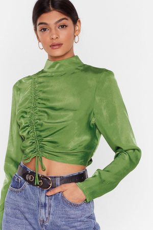 NASTY GAL Womens There's No Ruche Cropped Satin Blouse