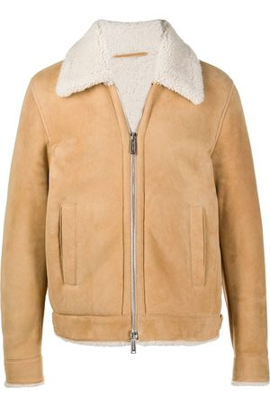 Dsquared2 Men Leather Jackets - Shearling zipped jacket - Neutrals