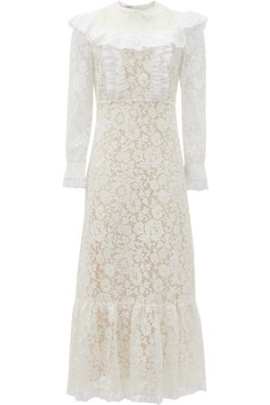 Miu Miu Floral-lace And Broderie-anglaise Cotton Dress - Womens