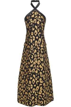 TEMPERLEY LONDON Woman Josie Metallic Leopard-jacquard Halterneck Midi Dress Size 10