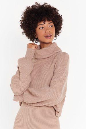 NASTY GAL Womens Get Knit Right Turtleneck Balloon Sleeve Jumper - - M/L
