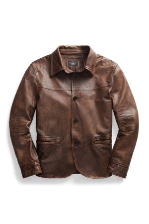 RRL Leather Car Coat