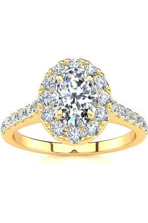SuperJeweler 1.5 Carat Oval Shape Halo Diamond Engagement Ring in 14k (4.50 g) (I-J, I1-I2 Clarity Enhanced), Size 10