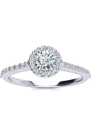 SuperJeweler 1/2 Carat Halo Diamond Engagement Ring in Platinum (I-J, I1-I2 Clarity Enhanced), Size 4