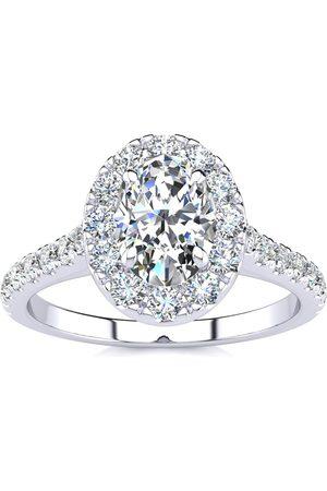 SuperJeweler 1.5 Carat Oval Shape Halo Diamond Engagement Ring in 14k (4.50 g) (I-J, I1-I2 Clarity Enhanced)), Size 10