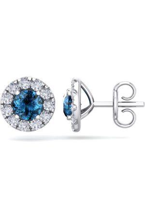SuperJeweler 2.5 Carat Blue Diamond Halo Stud Earrings in 14K (2.60 g), I/J