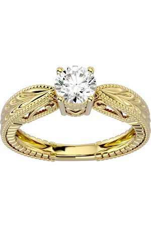 SuperJeweler 3/4 Carat Moissanite Solitaire Engagement Ring w/ Tapered Etched Band in 14K (4 g), E/F, Size 4