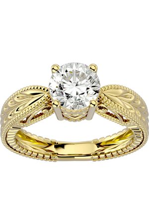 SuperJeweler 1.5 Carat Moissanite Solitaire Engagement Ring w/ Tapered Etched Band in 14K (5.20 g), E/F, Size 4